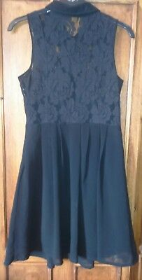 Ladies Black Dress, With Collar And Lace Shirt Detail And Buttons, Size 6 • 1.30£