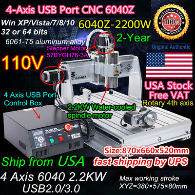 $1974 • Buy 〖US〗 USB 4Axis 6040 2.2KW ER20 CNC Router Cutter Drill Milling Engraving Machine