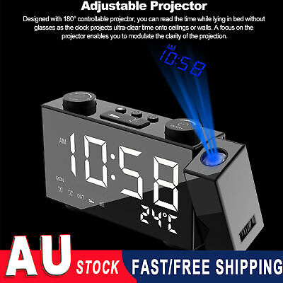 AU30.93 • Buy Premium Projection Alarm Clock With Digital FM Radio Snooze Large 6  LED Display