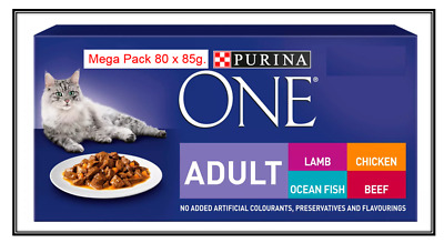 Purina ONE MEGA PACK Adult Wet Cat Food Pouches Fish,Lamb,Chicken & Beef 80x85g • 38.99£