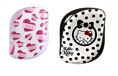 2 X Tangle Teezer Compact Styler, Hello Kitty Black/White & Girl Pink  Bundle • 14.99£