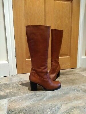 Womens Tan Leather Duo Boots Size 6 Pre Owned • 35£