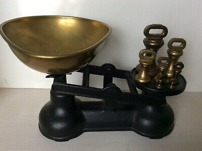 "Vintage ""salter"" Weighing Scales - Black & Brass ""imperial Weights"" • 29.99£"