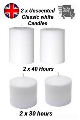 £7.99 • Buy Unscented Thick Round White Classic Church Pillar Table Candles Long Burn Time