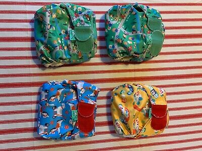 Tots Bots Newborn Teenyfits All In One Reusable Nappies Bundle Of 4 • 15£