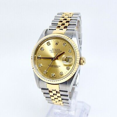 $ CDN11071.24 • Buy Rolex Datejust 16233 Box And Papers Champagne Diamond Dial No Holes Case