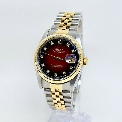 $ CDN12317.11 • Buy Rolex Datejust 16233 Degrade Red Diamond Dial Box And Papers