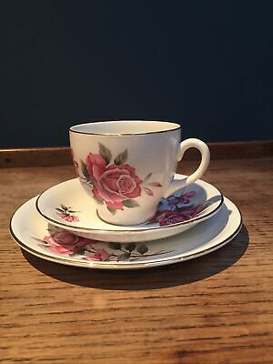 Delphatic By Barratt's England - China Cup, Saucer & Plate Set With Rose Design • 5£