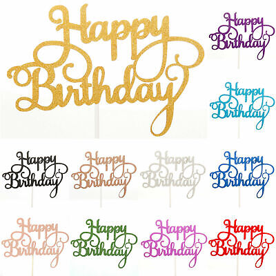 £1.99 • Buy Happy Birthday Cake Toppers Glitter Calligraphy Bling Sparkle Decoration Sign UK