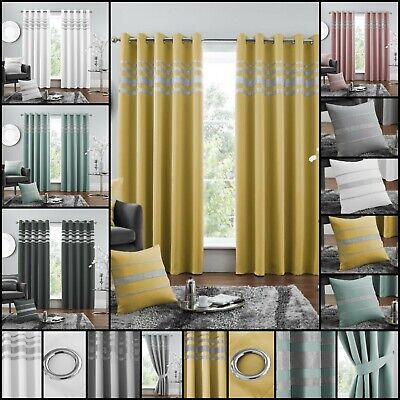 £25.99 • Buy NEW KENDAL BLACK OUT Ready Made Window Room Pair Curtains Ring Top Eyelet Ties