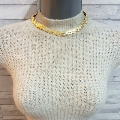 M&S Choker Necklace Flat Twisted Snake Chain Goldtone Metal Costume Jewellery  • 9.50£