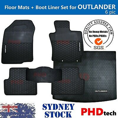 AU129 • Buy MITSUBISHI OUTLANDER Tailored All Weather Rubber Car Floor Mats & Boot Liner Set