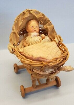 £35.49 • Buy Antique Miniature Wicker Baby Carriage Buggy Pram & Composition Baby Doll