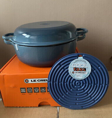 Le Creuset Cast Iron 26cm Shallow Casserole With Multifunctional Lid Marine NEW • 316.12£