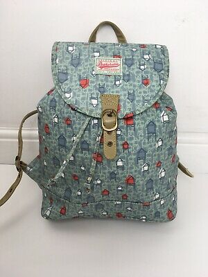 BRAKEBURN Beach Hut Backpack Rucksack Blue Green Oilcloth Bag Red Travel Seaside • 23.99£