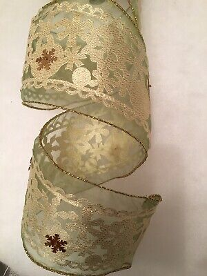 Gisela Graham Wired Ribbon 2.5mt Gold Voile Layered. Stunning. 10cm Wide. New • 6£