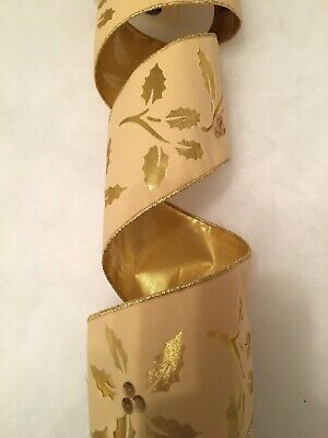 Gisela Graham Wired Ribbon 2.5mt Gold Voile Layered. Stunning. 8cm Wide. New • 6£