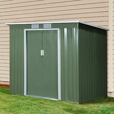 Outsunny 7 X 4ft Metal Garden Storage Shed W/Foundation Double Door & Window • 229.99£