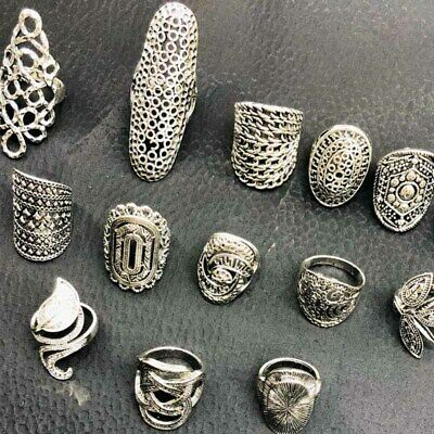 $ CDN12.62 • Buy Wholesale 12pcs/lot Vintage Carved Flower Silver Plated Jewelry Rings For Women