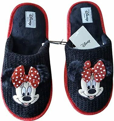 Disney Minnie Mouse Red Black Slippers Women Home Slippers New Gift • 18.99£