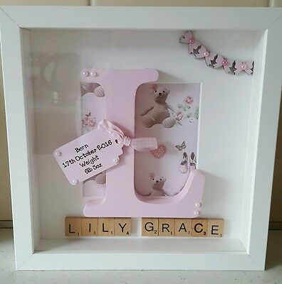 Personalised Box Picture Frame New Baby Christening Gift Present • 20£