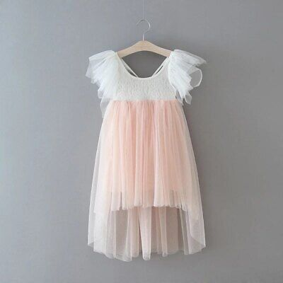 Bohemian Blush Pink Lace High Low Tulle Flower Girl Party Occasion Dress • 29.99£