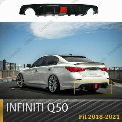 $ CDN151.87 • Buy For 2018-2021 Infiniti Q50 Painted Gloss Black With LED Light Rear Diffuser