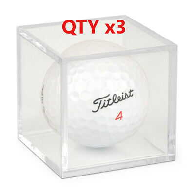 [3] Golf Ball Display Plastic Clear Case Cube Square Stackable Holder Auto BCW • 5.53£