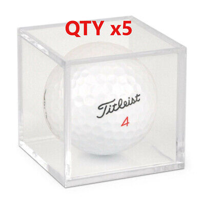 [5] Golf Ball Display Plastic Clear Case Cube Square Stackable Holder Auto BCW • 6.94£