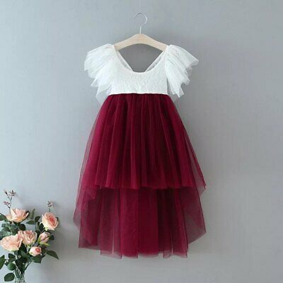 Bohemian Burgundy Lace High Low Tulle Flower Girl Party Occasion Dress • 29.99£