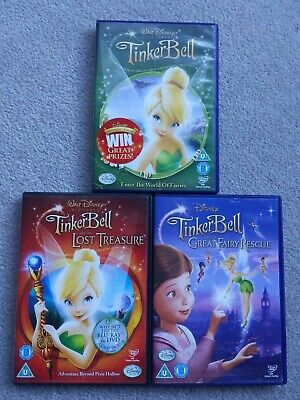 £9.99 • Buy Disney Tinkerbell DVD Bundle Set Of 3 The Lost Treasure & The Great Fairy Rescue