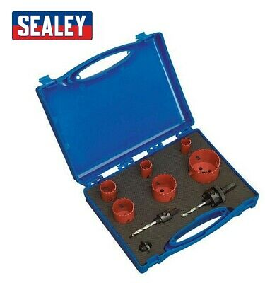 £23.99 • Buy Sealey Hkp9 9pc Hole Saw Cutting Set Down Light Hole Cutter Circular Round New
