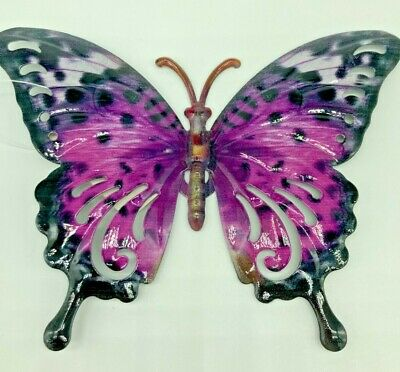 Butterfly Wall Art Purple Metal Garden Ornament Indoors Outdoors With Tails • 6.99£