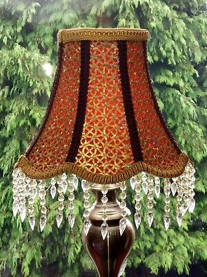 Victorian Vintage Plum Red Gold Lace Glass Fringe Table Lampshade Handmade Deco. • 145£