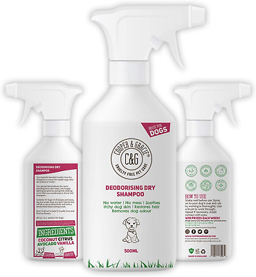 Dry Dog Shampoo Spray For Smelly Dogs - Wipe Clean Stain Remover - Cruelty Free • 15.92£