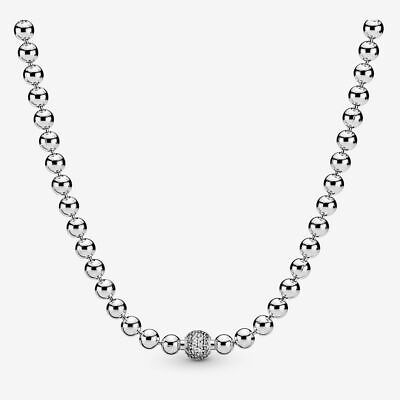 Authentic Pandora 45cm Beads And Pave S925 Ale Necklace,hallmark ,brand New • 56.89£