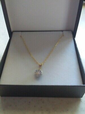 AU99 • Buy 9ct Yellow Gold Crystal Pendant & Display Chain/ Necklace ❤
