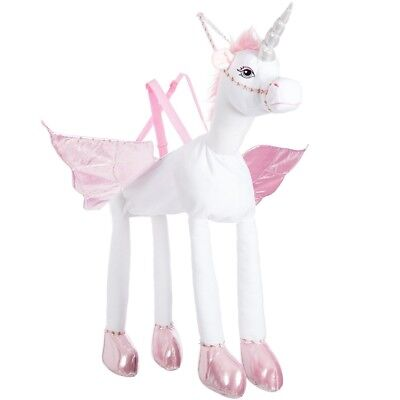 Girls White Pink Kids Ride On Unicorn Magic Lights Horn And Sound Costume Toy • 24.99£
