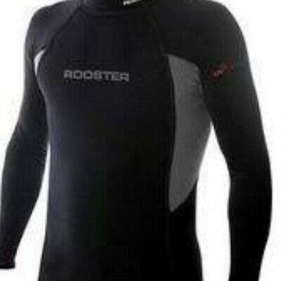 £21.99 • Buy Rooster Unisex Pro Brushed Spandex Top-Long Sleeve - Black And Graphite