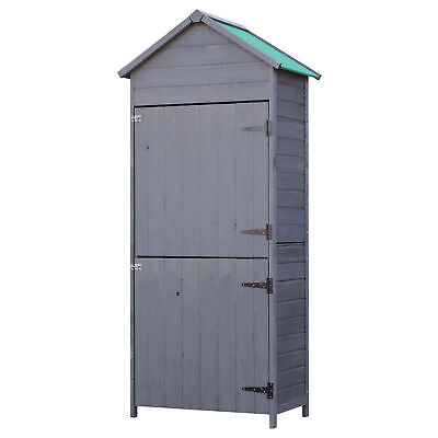 Outsunny Outdoor Garden Shed Wooden Tool Storage Utility Cabinet 2 Door - Grey • 139.99£