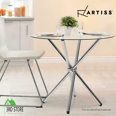 AU153.44 • Buy Artiss Dining Table Round 4 Seater Tempered Glass Tables Chrome Steel Legs 90cm