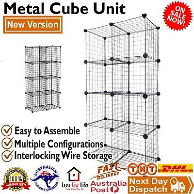 AU45 • Buy 8 Cube DIY Storage Cabinet Metal Wire Mesh Shelf Organiser Bookcase Rack Shelve