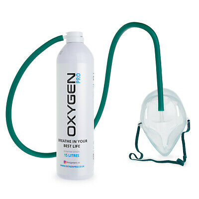 Oxygen In A Can 15 Litres With Mask Hi Boost 15L Canned O2 Recreational Therapy • 19.99£
