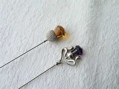 Silver & Amethyst Glass Art Nouveau Hat Pin, 1912, Pearce & Thompson & 1 Other • 85£