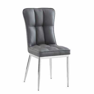 Luxury Modern Faux Leather Dining Chair Metal Chrome Legs • 99£