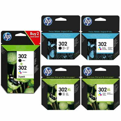 Genuine HP 302 / 302XL Black & Colour Ink Cartridges For HP Deskjet 3634 Boxed • 31.78£