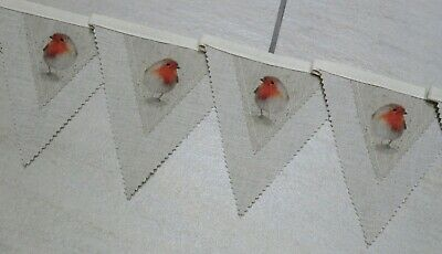Robin Red Breast & Laura Ashley Linen Bunting Garland - 2.6 Metres - Christmas • 12.99£