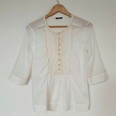 AU29 • Buy Massimo Dutti Women's Blouse Top Cream Lace Button Up 2/4 Sleeve Size 6/ XS