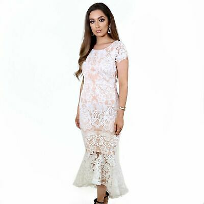 Women's Ladies Luxe Volition Carrie White Lace High Low Maxi Evening Dress • 29.99£