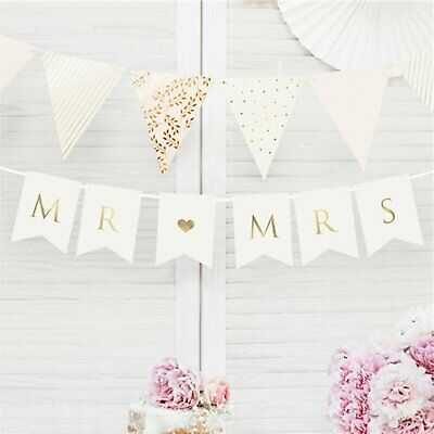 Mr And Mrs Wedding Bunting Wedding Decor Bridal Banner White And Gold • 5£